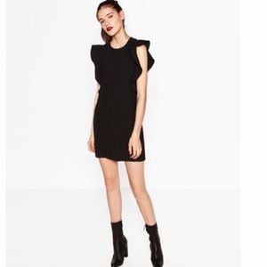 Zara black ruffle dress